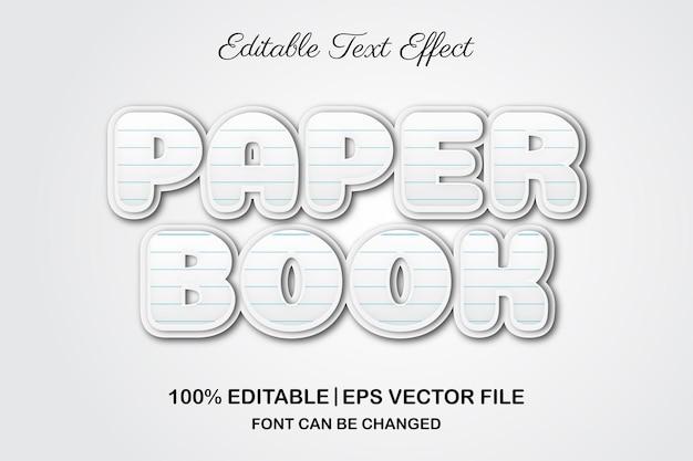Efeito de texto editável 3d do livro de papel
