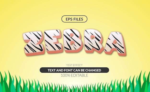 Efeito de texto editável 3d do teste padrão da zebra do animal selvagem.