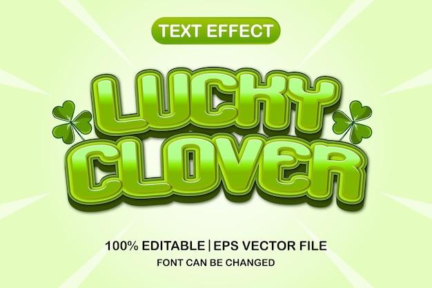 Efeito de texto editável 3d do trevo da sorte