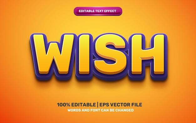 Efeito de texto editável 3d do wish kids cartoon comic hero