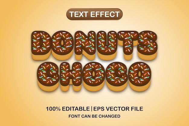 Efeito de texto editável 3d donuts chocho