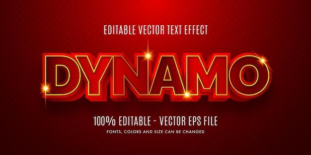 Efeito de texto editável 3d dynamo red gold fácil de alterar ou editar