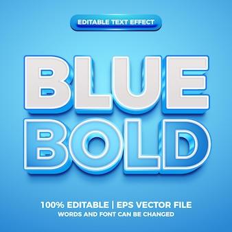 Efeito de texto editável 3d em negrito azul