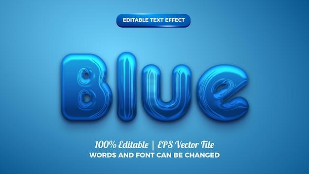 Efeito de texto editável 3d em negrito e cromado azul brilhante