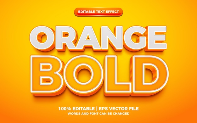 Efeito de texto editável 3d em negrito laranja