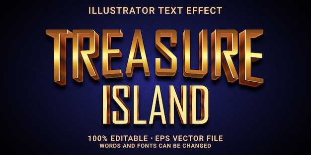 Efeito de texto editável 3d - estilo treasure island