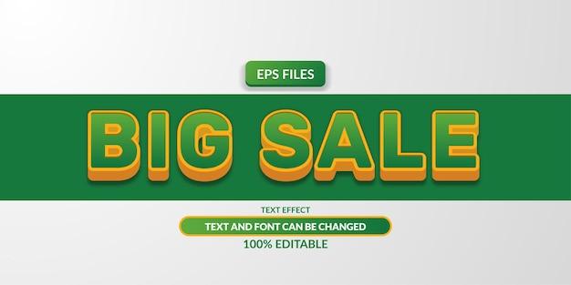 Efeito de texto editável 3d grande venda verde. arquivo do vetor eps. banner super mega promoção de desconto em pôster