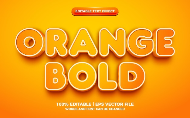 Efeito de texto editável 3d laranja em negrito