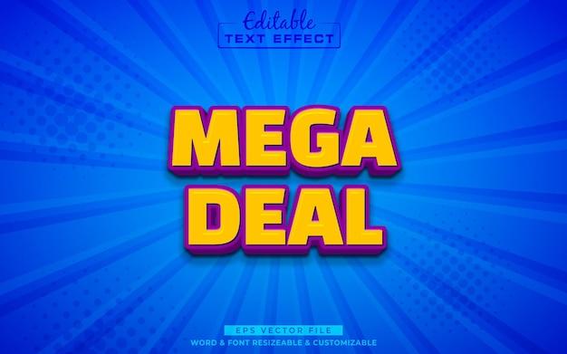 Efeito de texto editável 3d mega deal