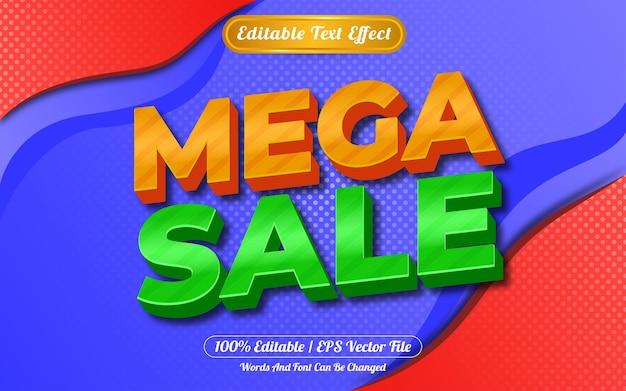 Efeito de texto editável 3d mega venda fundo abstrato