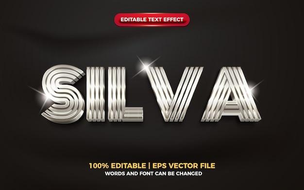 Efeito de texto editável 3d metálico prateado elegante