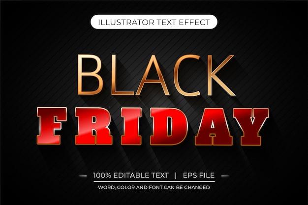 Efeito de texto editável 3d preto sexta-feira vermelha e dourada