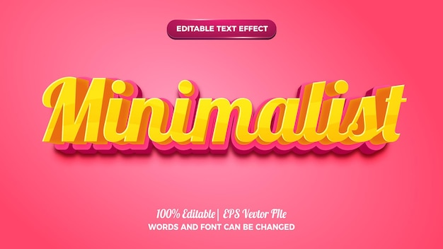 Efeito de texto editável 3d rosa amarelo minimalista
