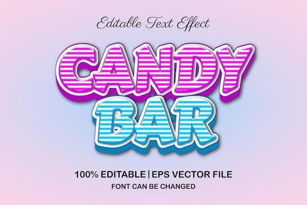 Efeito de texto editável 3d rosa e azul em barra de chocolate