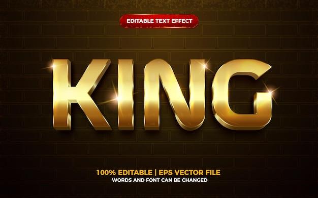 Efeito de texto editável 3d royal king ouro brilhante