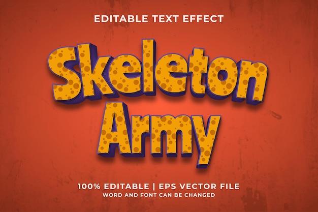 Efeito de texto editável 3d skeleton army premium vector