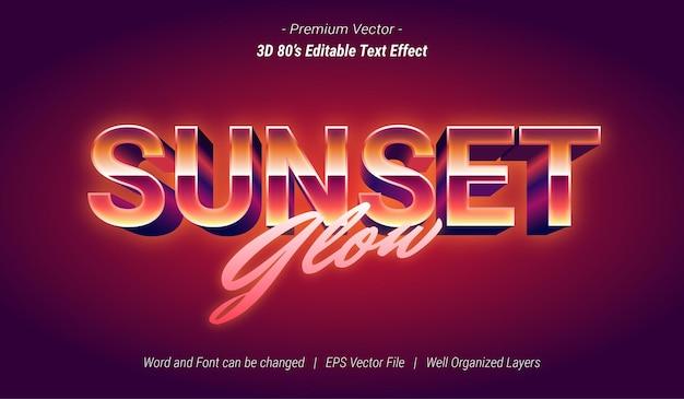 Efeito de texto editável 3d sunset glow