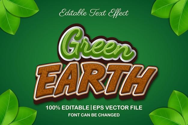 Efeito de texto editável 3d terra verde