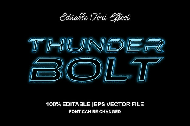 Efeito de texto editável 3d thunder bolt