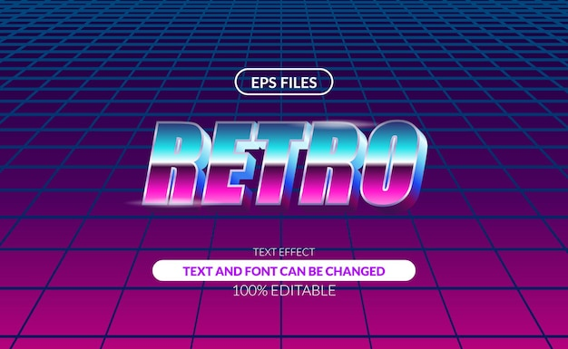 Efeito de texto editável 3d vintage 80s retro disco pop night.