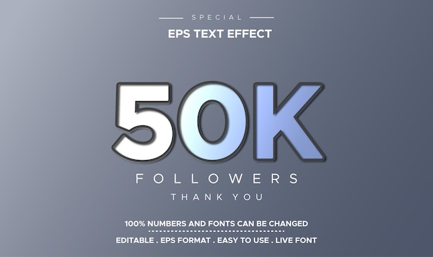Efeito de texto editável 50 mil seguidores