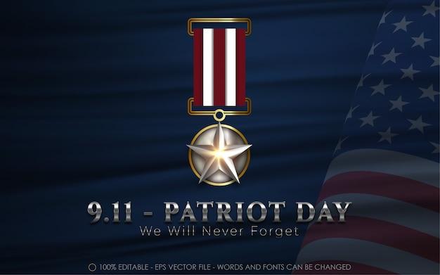 Efeito de texto editável, 9,11 ilustrações do estilo do dia patriota