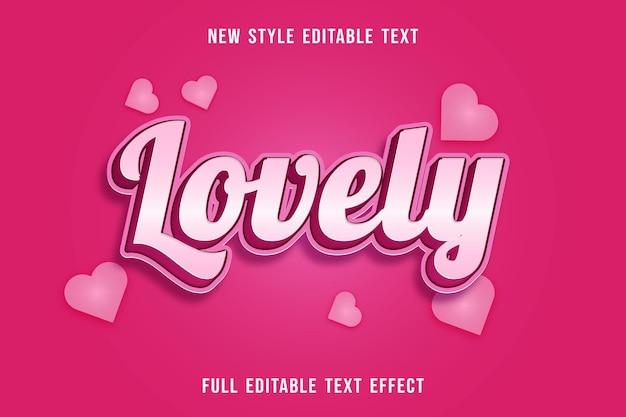 Efeito de texto editável adorável cor branco e rosa