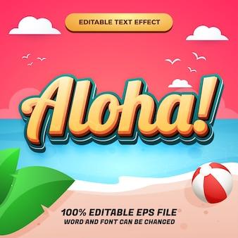 Efeito de texto editável aloha com lindo fundo de praia ao pôr do sol para banner de verão