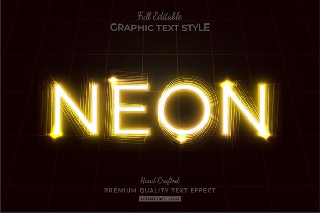 Efeito de texto editável amarelo néon