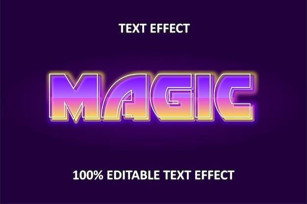 Efeito de texto editável amarelo roxo