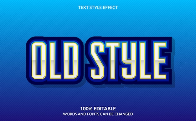 Efeito de texto editável, antigo estilo de texto azul Vetor Premium