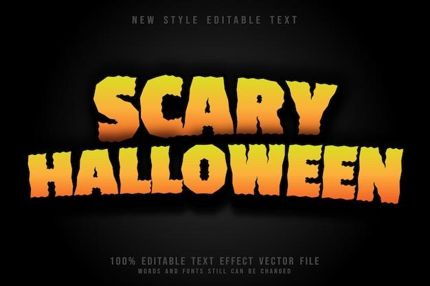 Efeito de texto editável assustador de halloween em relevo estilo cômico