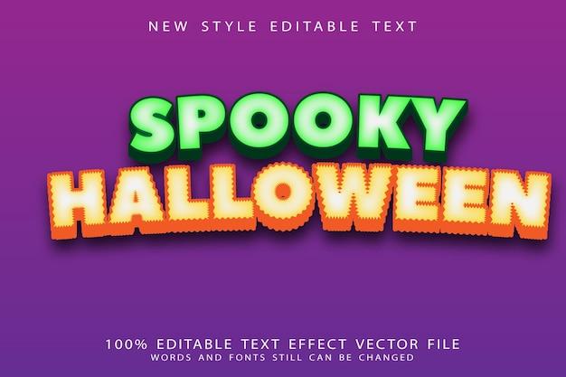 Efeito de texto editável assustador de halloween em relevo estilo moderno