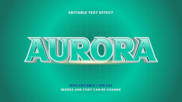 Efeito de texto editável aurora em estilo 3d moderno