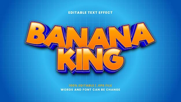 Efeito de texto editável banana king em estilo 3d moderno
