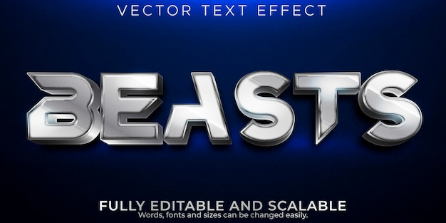 Efeito de texto editável beasts, estilo de texto metálico e brilhante
