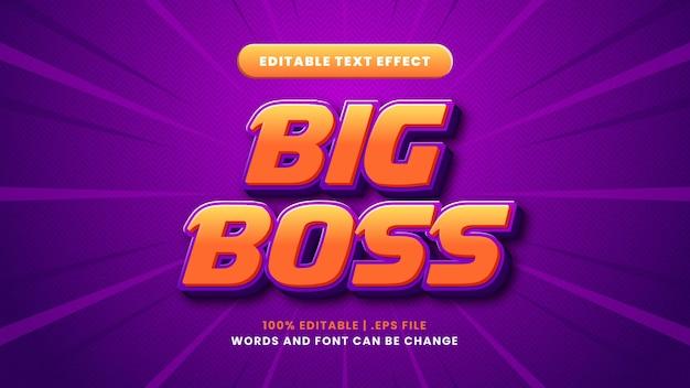 Efeito de texto editável big boss em estilo 3d moderno