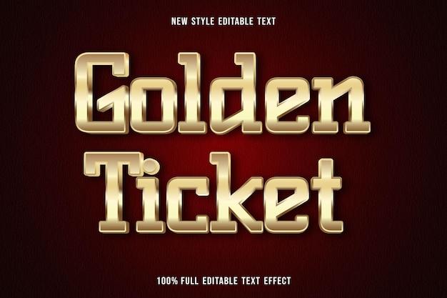 Efeito de texto editável bilhete dourado cor ouro