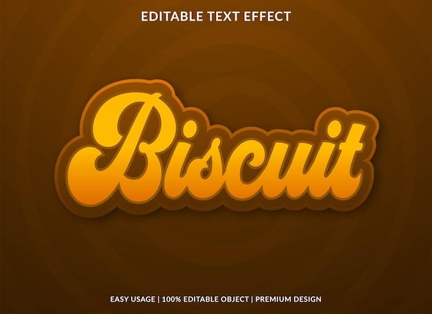 Efeito de texto editável biscoito estilo premium