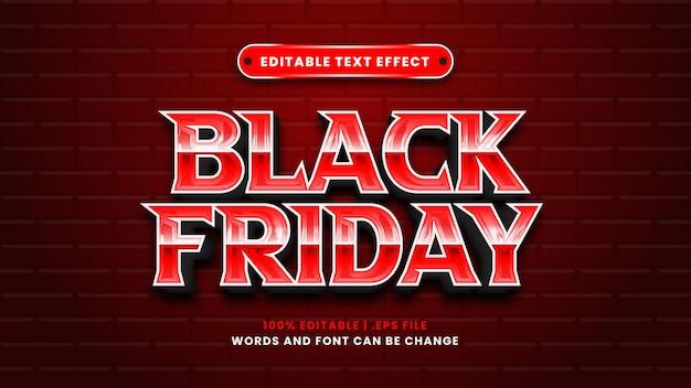 Efeito de texto editável black friday em estilo 3d moderno Vetor Premium