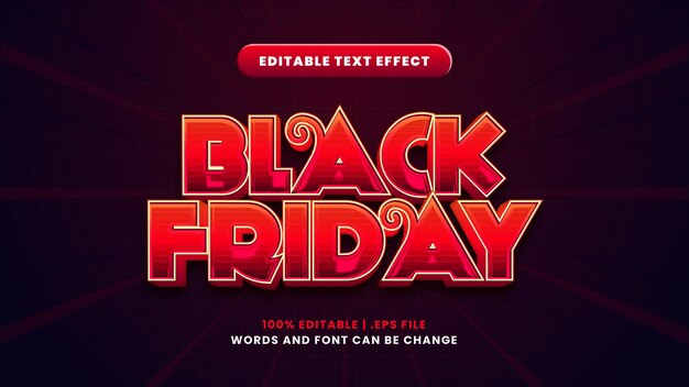 Efeito de texto editável black friday em estilo 3d moderno