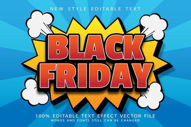 Efeito de texto editável black friday em relevo estilo cômico