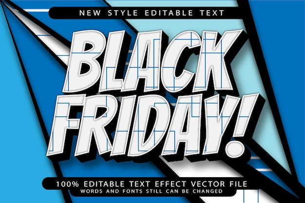 Efeito de texto editável black friday em relevo estilo vintage
