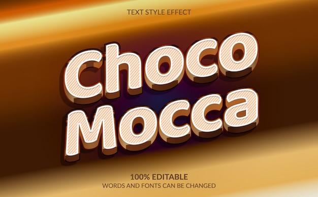 Efeito de texto editável, bolo de chocolate mocca, estilo de texto de bolo de aniversário