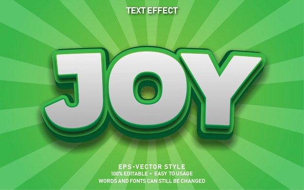 Efeito de texto editável bonito alegria