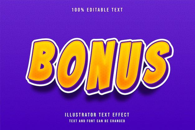 Efeito de texto editável bonus3d amarelo gradação roxo moderno estilo sombra