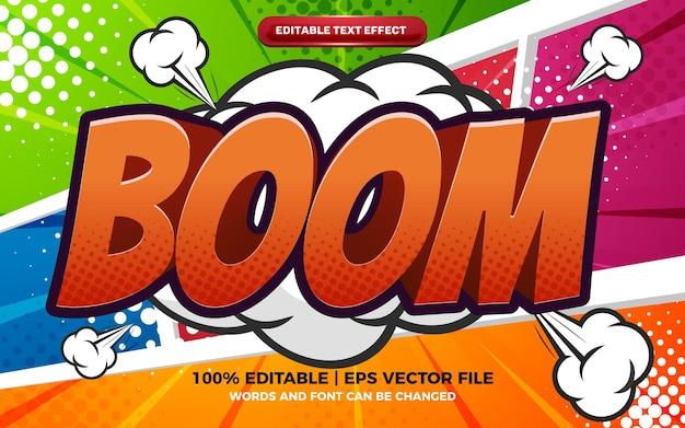 Efeito de texto editável boom comic cartoon em fundo colorido em quadrinhos de meio-tom