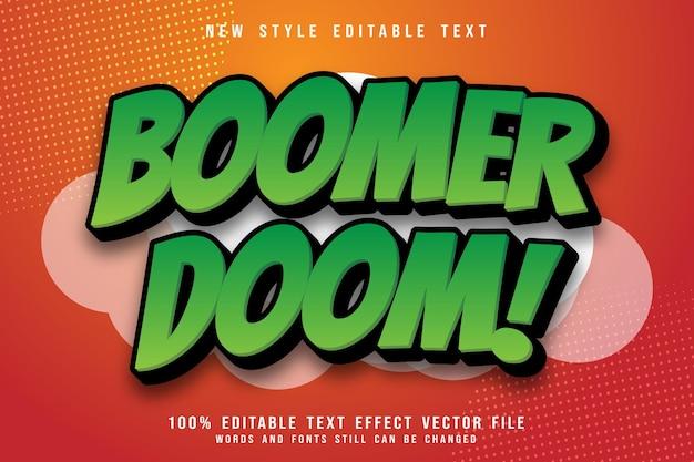Efeito de texto editável boomer doom em relevo estilo cômico