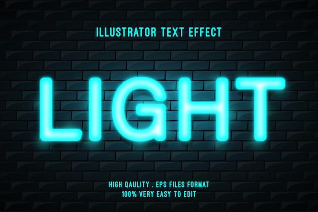 Efeito de texto editável - brilho de néon ciano na parede de tijolo