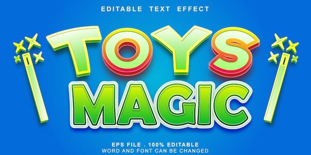 Efeito de texto editável brinquedos magia 3d